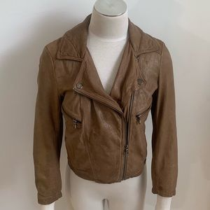 Wearmaster Madewell Brown Crop Leather Moto Jacket